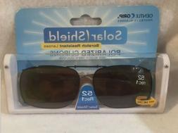 1 SOLAR SHIELD Clip-on Polarized Sunglasses 52 Rec 1 Brown L
