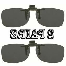 2 Pairs Gray Lens Rectangle Rx Eyeglasses Clip On Flip Up Dr