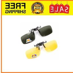 2 Pairs Sunglasses Clip On Flip Up Night Vision Glasses Anti