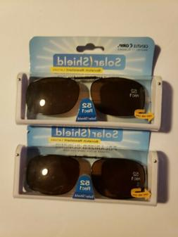 2 SOLAR SHIELD Clip-on Polarized Sunglasses 52 Rec 1 Brown L