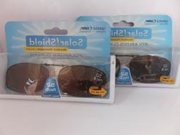 2 SOLAR SHIELD Clip-on Polarized Sunglasses 52 Rec 5, Brown