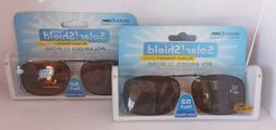 2 SOLAR SHIELD Clip-on Polarized Sunglasses 52 Rec 1 Brown L