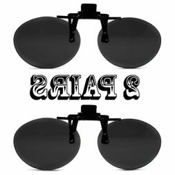 2 Super Black Round Oval Lens Clip On Flip Up Driving Outdoo