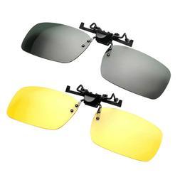 2Pc Durable Unisex Polarized Sunglasses Clip Simple PC Visio