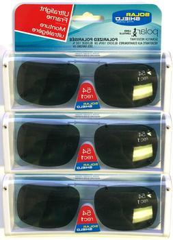 3 PACK Solar SHIELD CLIP ON Sunglasses Frameless 54 REC 1 W/
