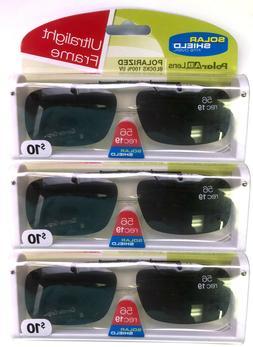 3 PACK Solar SHIELD CLIP ON Sunglasses FRAMELESS 56 REC 19 W