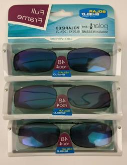 3 Pack Solar Shield Polarized Clip On Sunglasses Rimmed 48 R