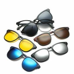 5Pcs Magnetic Clip on Polarized Sunglasses +1pc Metal Eyegla