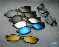 5 PACK Magnetic Clip-on Sunglasses + 1 TR Classic Eyeglass F