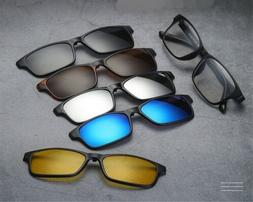 5 PACK Magnetic Clip-on Sunglasses Polarized + 1 TR Classic