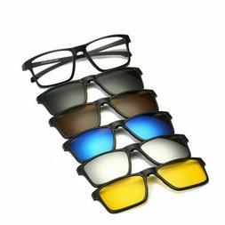 5 pack Magnetic Sunglasses Clip on Lens +1 Eyeglass Frames S