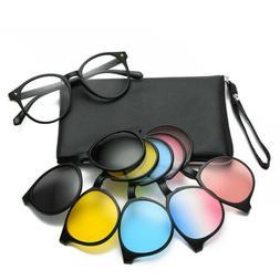 5 Pcs Clip-on Magnetic Polarized Sunglasses Eyeglass Frames