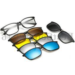 5Pcs Clip-on Polarized Sunglasses Magnetic lens Plastic Fram