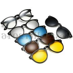 5Pcs Polarized Magnetic Lens Clip-on Sunglasses Plastic Fram