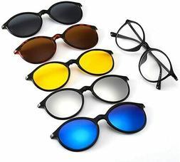 AOHENG TR90 5Pcs Magnetic Clip on Sunglasses Over Prescripti