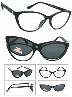 Cat Eye Frame Magnetic Clip-On Polarized Sunglasses On Bifoc