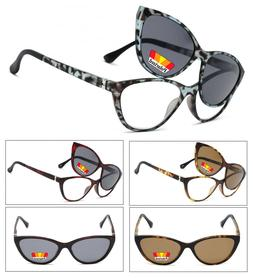 Cat Eye Frame Magnetic Clip On Polarized Sunglasses On Full