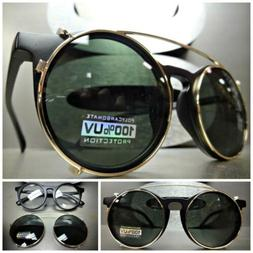CLASSIC VINTAGE 60s RETRO Style Clear Lens CLIP ON SUN GLASS