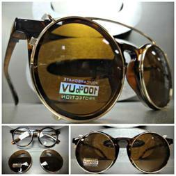 CLASSIC VINTAGE RETRO Style Clear Lens CLIP ON SUN GLASSES T