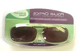 SOLAR SHIELD CLIP ON Sunglasses FRAMELESS 56 REC 15 W/ HARD
