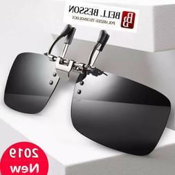 HD Polarized Light Flip-up Clip-on Lenses Black Sunglasses U