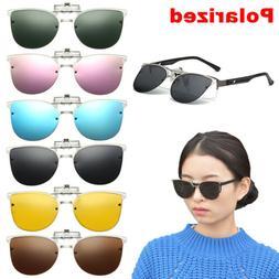 Fashion Womens Polarized Clip-on Sunglasses Flip-up Cat Eye
