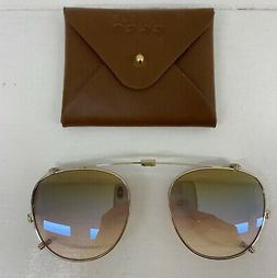 Folding Clip on Garrett Leight Hampton HM46 Gold Brown Rose