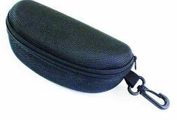 Glasses Case Hard Black Sports Large Glasses Belt Clip Zip C