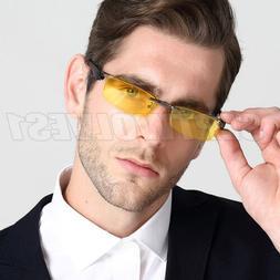Half Rim Eyeglasses Frame Magnetic Polarized Clip Night Driv