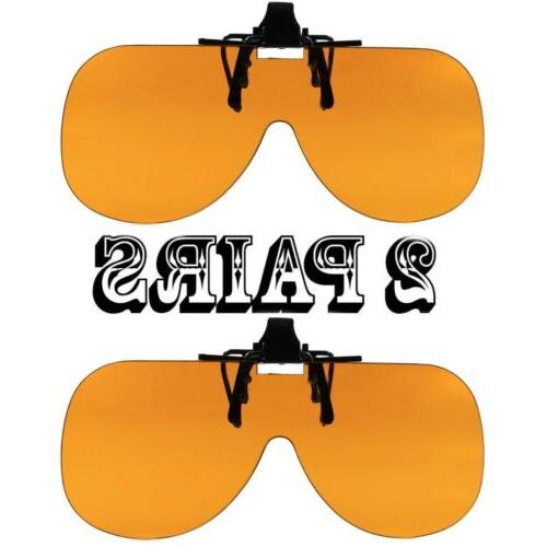 2 pairs amber lens clip on flip
