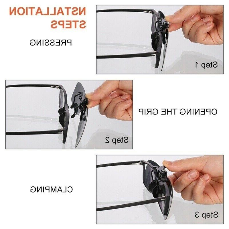 2 Pairs Clip On Flip-Up Driving Glasses Day Vision Lens