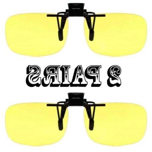 2 pairs yellow rectangle lens clip on