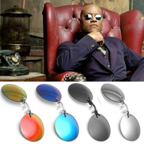 matrix morpheus style round rimless sunglasses men