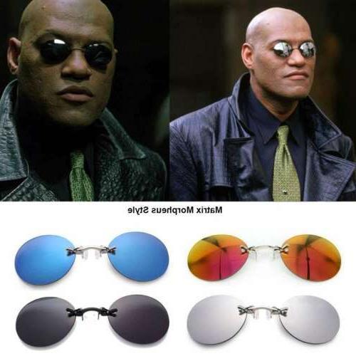 matrix morpheus style vintage round rimless sunglasses