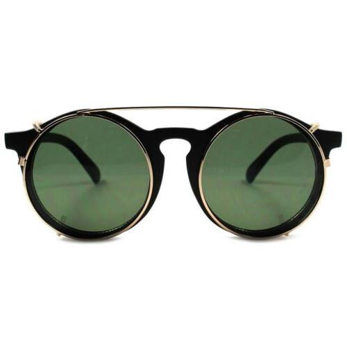 Matte Black Vintage Funky Style Steampunk Round Sun