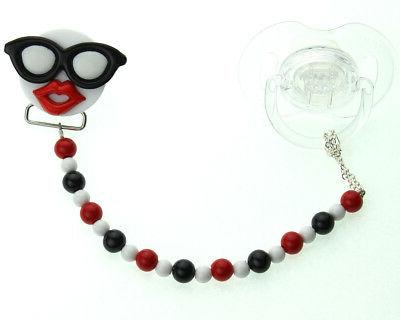 multi color sunglasses and lips baby pacifier