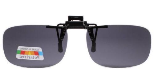 polarized gray lens rectangle rx eyeglasses clip