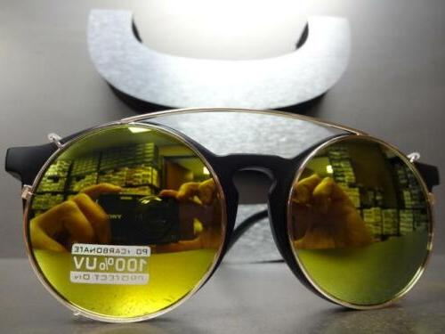 VINTAGE Clear Lens CLIP ON GLASSES & Gold Frame