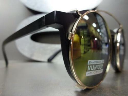VINTAGE Style Lens GLASSES Round Matte & Gold Frame