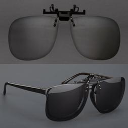 Large Polarized Lens Glare Block Clip On Flip Up Sunglasses