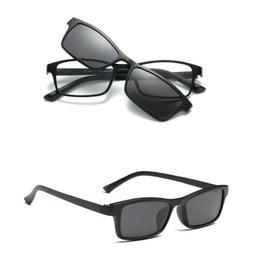 Magnetic Clip-on Polarized Sunglasses Eyeglass Frames Rx Cla