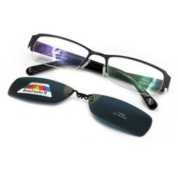 Half Rimless Metal Eyeglass Frames Clip-on Magnetic Polarize
