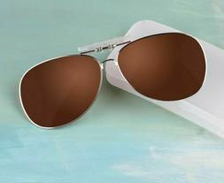 New Clip On Polarized Sunglasses Men Women Metal Frame Glass