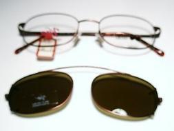 New Mens Metal Eyeglasses Viva 135 w/ Clip on Sunglass ANTIQ