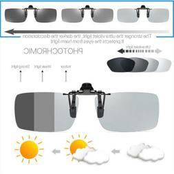 Photochromic Polarised Clip On Flip Sunglasses UV400 Polariz