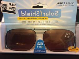 Solar Shield Polarized Clip on Sunglasses 52 Rec 1~W/Case~Sc