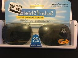 Solar Shield Polarized Clip on Sunglasses 56 Rec 1~W/Case~Sc
