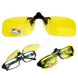 Polarized Day Night Vision Clip-on Flip-up Lens Driving Glas