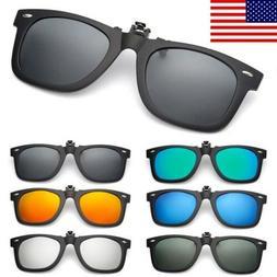 Polarized Flip Up Clip On Sunglasses Black 100% UV Protectio