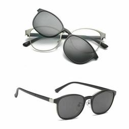 Polarized Magnetic Clip-on Sunglasses Eyeglass Frame Metal D